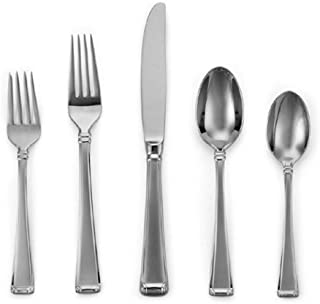 Gorham Column Frosted Stainless Flatware 5-Piece Place Setting, Service for 1, Silver - 6017040