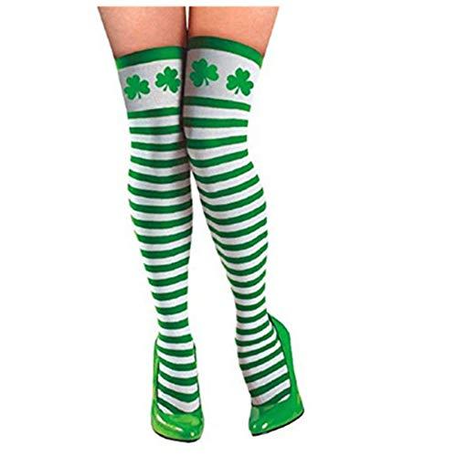 Amosfun St. Patrick's Day Strümpfe Saint Patrick's Day Kniestrümpfe Kleeblatt Oberschenkel Hohe Strümpfe Cosplay Irish Clover Party Kostüm Zubehör