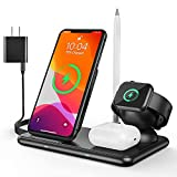 Supporto Caricatore Wireless 4 in 1 per Apple Watch, Qi Supporto di Ricarica Wireless Docking Station per iPhone 13/12/ iPhone11/XS/XR/X/8, Samsung Galaxy Apple Watch Airpods & Pencil Qi-Enabled