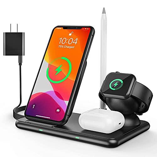 Cargador inalámbrico Rápido, Estación de Carga Rápida Qi Inalámbrica 4 en 1 Soportes de Carga de para iPhone12/11/pro/X/XS/XR/XS MAX/8 Plus, Samsung Galaxy Apple Watch Airpods & Pencil Qi-Enabled