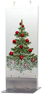 Flatyz Flat Hand Painted Candle | Christmas Tree | Dripless, Smokeless, Decorative, Double Wick Candle