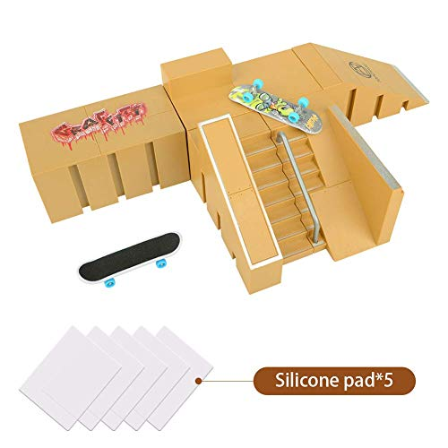 Abree Mini Fingerskateboard-Park Kit mit 5 unabhängige Anbauteile und 2 Fingerboards (Gelb)