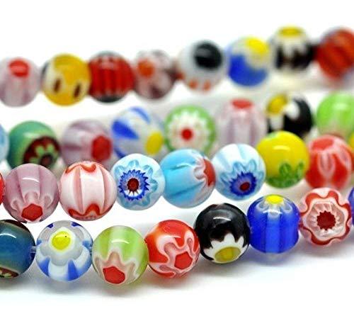 Perlin - Millefiori Perlen Glas Rund 6mm Glasperlen 2 Stränge 130Stk Bunte Mix Handgearbeitete Perle Lampwork Beads D7A x2