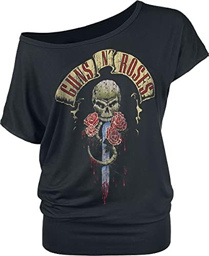 Guns N' Roses Dripping Dagger Mujer Camiseta Negro XXL, 95% Viscosa, 5% elastán, Ancho