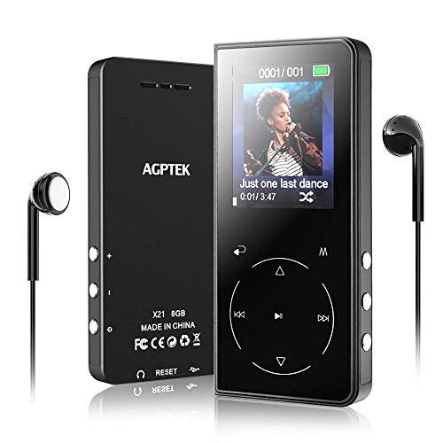 AGPTEK Bluetooth 4.2 MP3 Player mit Kopfhörer, 8GB Sport Musik Player Kinder mit Lautsprecher FM Radio Voice Recorder TFT Bildschirm, Erweiterbar bis 128 GB, Schwarz