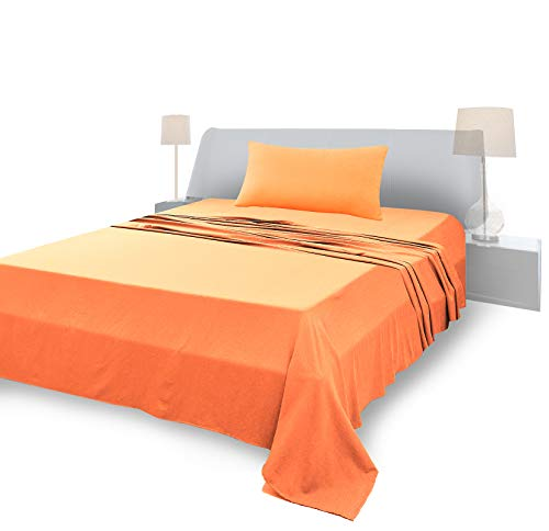 Lenzuola Singolo Completo, Materiale 100% Puro Cotone, Lenzuola e 1 Federa da Letto, Biancheria da Letto Made In Italy, arancione