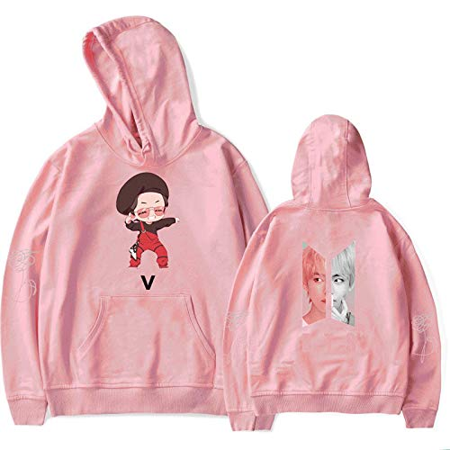 HUANHE BTS V Hoodie Boy Girls Idol Long Sleeve Sweatshirt Hip Hop Fashion Casual Loose Clothing XXS-4XL Pink