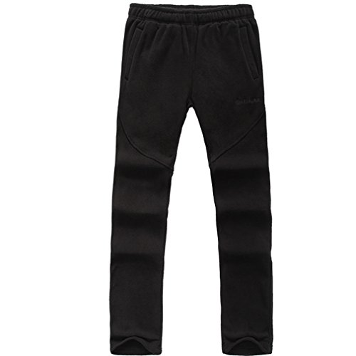 emansmoer Herren Outdoor Thermisch Fleecehose Komfort Weich Warm Winter Sport Camping Wandern Hosen Fleece Casual Jogginghose (X-Large, Schwarz)
