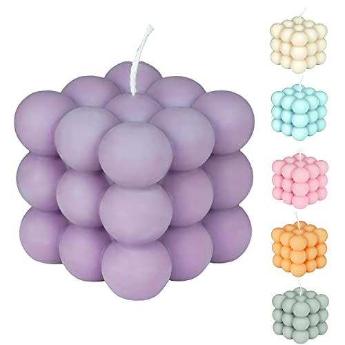 Macrime Bubble Candle Violett | Flieder Duft | Nachhaltige Duftkerze aus Rapswachs | Handgemacht aus Deutschland | Vegane Deko-Kerze in Würfelform | 12h Brenndauer