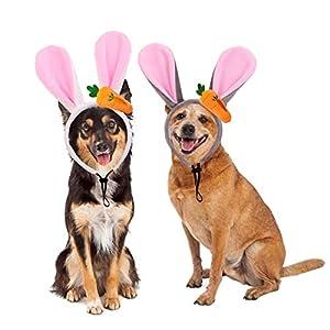 Vehomy 2Pcs Dog Easter Bunny Ears Headbands with Carrot Pet Dog Cat Easter Rabbit Costume Rabbit Ears Headband for Medium Large Dogs
