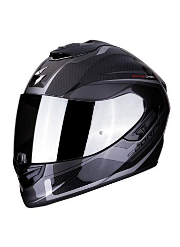 Casco integral Scorpion EXO-1400 espirit negro gris fibra de carbono para scooter moto con visera interior SpeedView solar retráctil, protección exterior TCT (XS)