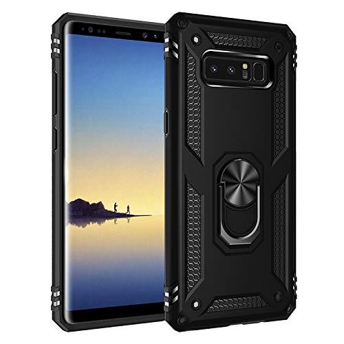 BestST Funda Samsung Galaxy Note 8 Armor Carcasa con 360 Anillo iman Soporte Hard PC y Silicona TPU Bumper antigolpes Fundas Carcasas Case para movil Samsung Note 8, Negro