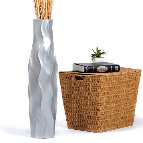 Leewadee Jarrón de Suelo Grande Alto, jarrón Hecho a Mano de Madera de Mango, contenedor de pie para Las Ramas Decorativas, 75 cm, Plateado