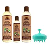 OKAY Pure Naturals Jamaican Black Castor Oil For Hair Growth and Argan Oil Moisture & Growth - Jamaican Black Castor Oil Shampoo And Conditioner 12 OZ Leave In Conditioner 8 OZ with Scalp Massager