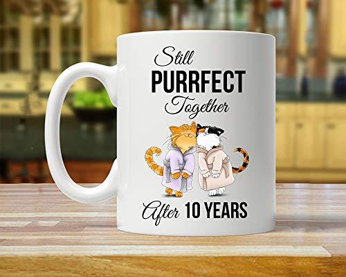 King34Webb - Taza de regalo para 10 años de aniversario para marido o amante de gatos, regalo de 10 años para él