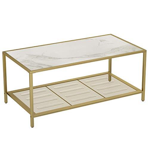 VASAGLE Couchtisch, Wohnzimmertisch mit Hartglas und engmaschiger Gitterablage, aus Metallgestell, stabil, für Wohnzimmer, Gold-Marmoroptik LGT031W01