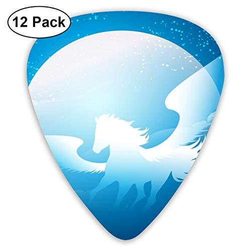Gitaar Pick Gevleugelde Paard Blauwe Sterrenmaan 12 Stuk Gitaar Paddle Set Gemaakt Van Milieubescherming ABS Materiaal, Geschikt voor Gitaren, Quads, Etc