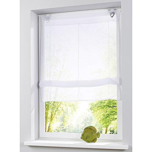 KOU-DECO Raffrollo Weiß Voile Transparent Gardinen Mit U-Haken 1er-Pack Vorhang (B*H 100*130cm, Weiß)