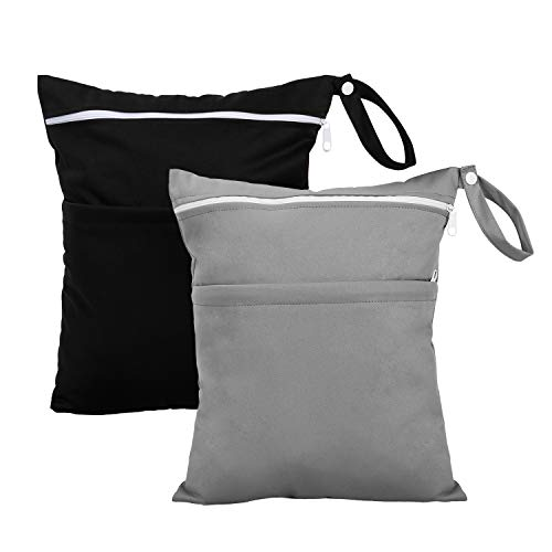 Wet Bag for Cloth Diapers Waterproof Reusable with Two Zippered Pockets Black Grey Cloth Diaper Wet Bag for Travel Beach Pool Stroller Gym Bag for Swimsuits Pump Parts 2pcs