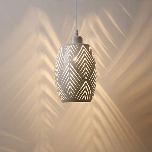 OYGROUP E27 Lampara de techo Pantalla de metal hueca Pantalla de iluminacion colgante rustica para cocina Isla Comedor Mesa Pasillo, blanco