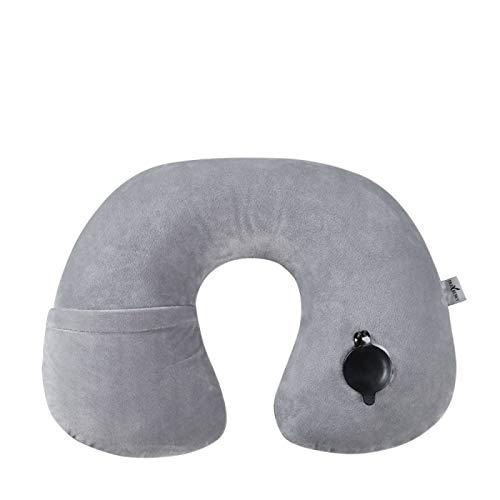 MSNLY Almohada para el Cuello Almohada en Forma de U de Viaje Almohada Inflable h Coche al Aire Libre Almohada para el Cuello para Aviones de Larga Distancia Almohada para la Siesta con Capucha.