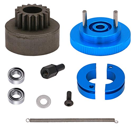 Treehobby 16T Flywheel Clutch Bell & Ball Bearings Set for HSP 94188 1/10 RC 1:10 Car Upgrade Parts Aluminum Alloy 16 Teeth Flywheel Assembly Kit Set (Color: Blue)