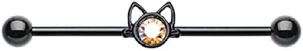 Covet Jewelry Black Cat Just Kittying Around Industrial Barbell 14GA