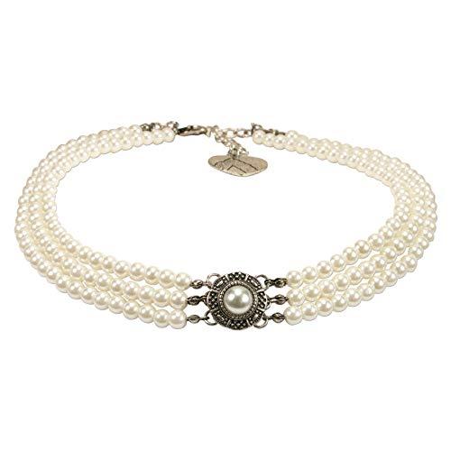 Alpenflüstern Trachten-Perlen-Kropfkette Karla - nostalgische Trachtenkette, eleganter Damen-Trachtenschmuck, Dirndlkette Creme-weiß DHK218