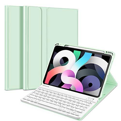 Fintie Tastatur Hülle Kompatibel mit iPad Air 10,9 2020 (4. Gen) Soft TPU Rückseite Gehäuse Schutzhülle mit Pencil Halter, magnetisch Abnehmbarer Bluetooth Tastatur mit QWERTZ Layout, Grün