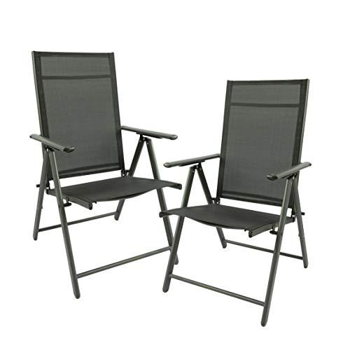 Maxx 2er Set Klappstuhl Gartenstuhl Campingstuhl Liegestuhl – Sitzmöbel Garten Terrasse Balkon – klappbarer Stuhl aus Aluminium & Kunststoff - schwarz