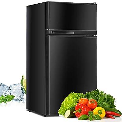 Compact Refrigerator, Safeplus 3.4 cu ft. Unit Cold-rolled Sheet Mini Refrigerator with freezer, Dorm fridge with Adjustable Removable Shelves (Black)