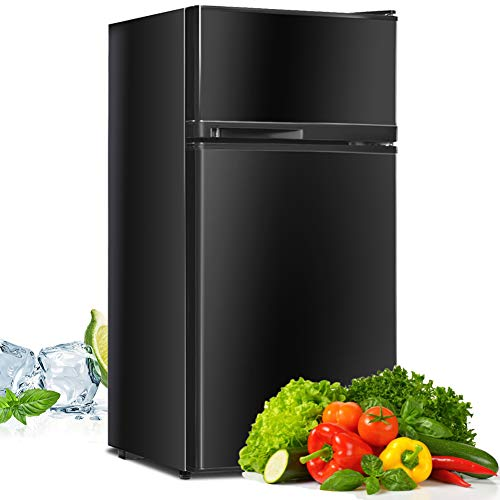 Compact Refrigerator, Safeplus 3.4 cu ft. Unit Cold-rolled Sheet Mini Refrigerator with freezer, Dorm fridge with Adjustable Removable Shelves,Black