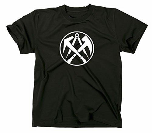 Dachdecker Zunft Logo T-Shirt, Zunftzeichen Zunftlogo Symbol, XXL, schwarz