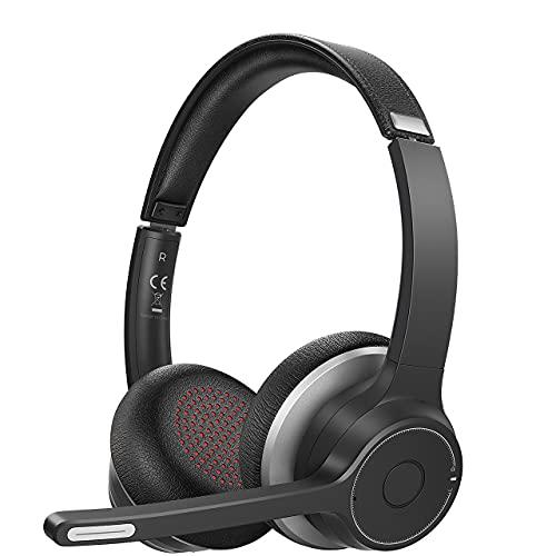 Cuffie Bluetooth con Doppio Microfono, Cuffie PC con Cancellazione del Rumore CVC8.0, Funzione Mute, Portata Wireless 5.0 55 Piedi, Cuffie Morbide, Cuffie Cablate per PC Home Office Call Center Skype