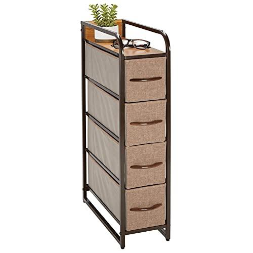 mDesign – Lådhurts med 4 lådor – Hurts med lådor för småförvaring och avlastningsbord – Smal byrå perfekt för kontoret, hallen och garderoben – Brun