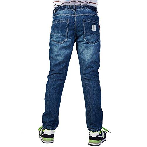 Leo&Lily Boys' Husky Waist Regular Fit Thin Jeans Pants Trousers (Dark Blue, 16)