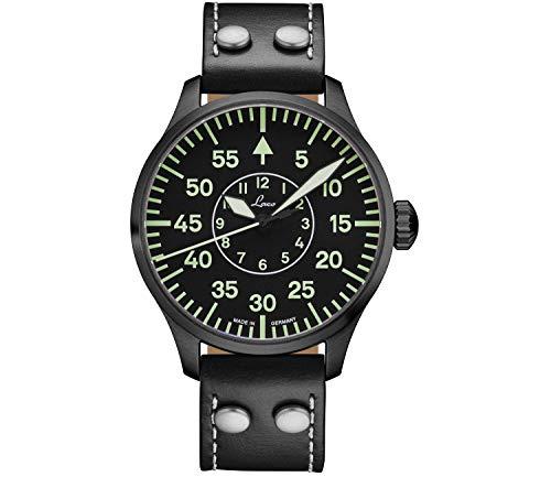 LACO Bielefeld Herren Armbanduhr, Fliegeruhr, schwarzes Kalbslederband, Saphirglas, Ø 42 mm, Automatik, Marineuhr, inkl. Etui - 861760.2