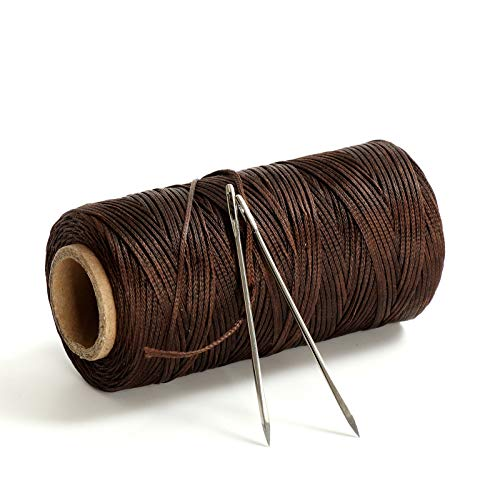 120 Meters 300D 1.2mm Sewing Waxed Thread with 2 Needles Leather Craft Hand Stitching Waxed Thread Cords AWL Shoes Bags Repair (Coffee Brown)