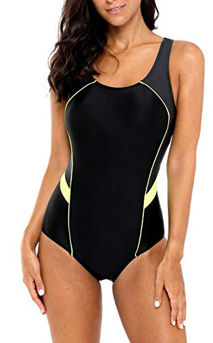 BeautyIn Damen Athletic Einteiler Badeanzug Racerback Wettkampf-Badeanzug - Schwarz - XX-Large
