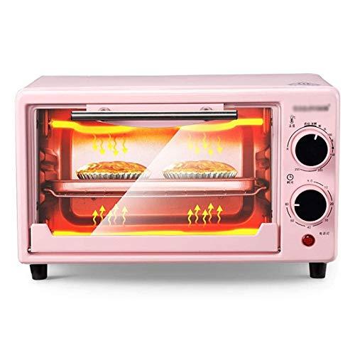 Adesign Horno doméstico pequeño Mini multifunción Hornear Tarta Tarta automática Horno eléctrico 10l Doble Horno Rosa