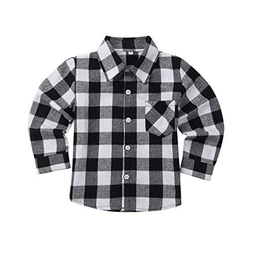 Kaerm Baby Langarm Plaid Shirt Jungen Kinder Stehkragen Kariertes Hemden Baumwolle Outfits Gentleman Overall Kleidung Mit Knöpfe Gr. 86-140 Schwarz&Weiß 98-104