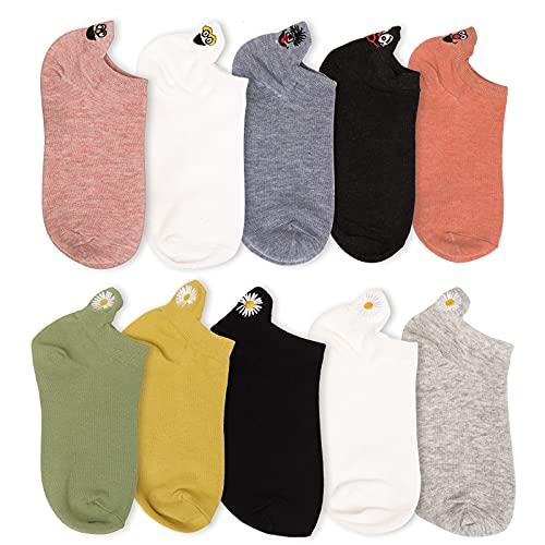 promixc Sneaker Mädchen Socken 10 Paar Baumwolle mit hoher Dichte Komfortabel Netter Ausdruck Bestickte damen socken lustig(Zufällige Farbe), One Size
