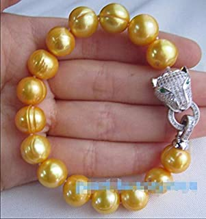 Gabcus 10x10 jewerly >> Natural 2016 New Leopard Head 11-12MM South SEA Golden Pearl Bracelet