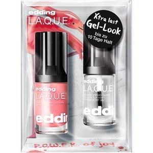 Edding Make-up Nägel P.O.W.E.R. Set L.A.Q.U.E Nr. 217 Funky Flamingo 8 ml + Gel-Look Top Coat 8 ml 1 Stk.