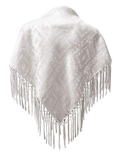 Seidentuch Dirndl-Trachtentuch Tuch weiß 75x75cm Dirndltuch Seide Fransentuch für Tracht Trachtenseidentuch mit Fransen Schultertuch Halstuch silk clouth hochwertigste Qualität!