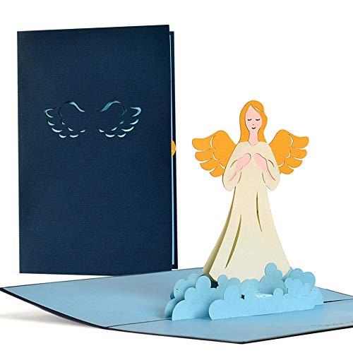Schutzengelkarte, Glückwunschkarte mit Schutzengel in 3D, Geschenkkarte, Grußkarte, Geburtstag, Taufe, Genesung, Gute Besserung, C18
