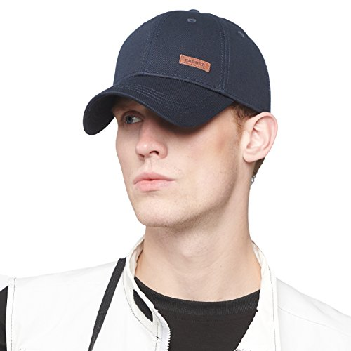 CACUSS Men's Cotton Dad Hat Classic Baseball Cap with Adjustable Buckle Closure,Golf Cap(Navy)