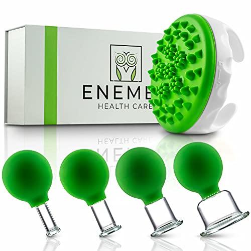 ENEMEL® Schröpfgläser aus Echtglas [4 STÜCK] inkl. Cellulite-Bürste + Anleitung - Hochwertiges Schröpfglas Set mit extra breiter Auflagefläche