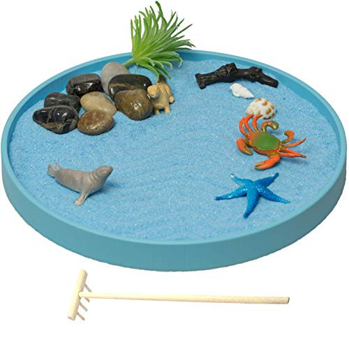 Simple Creativity The Sea World Sandbox, a New Generation of Executive Mini Zen Garden Set, the Ocean Sea Life at your Desktop, Perfect Relaxation and Meditation Gift, Play Sand Box Toy for Kids