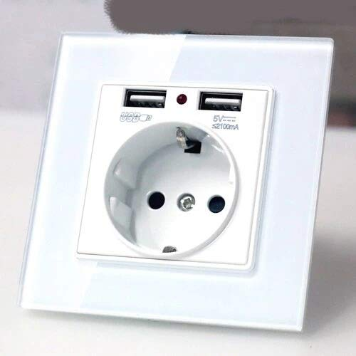 Wall Socket EU Wall Power Plug Socket with USB Outlet, Glass 2a Dual USB Charger Plug Wall Outlet, 16a 2100ma Electrical Wall Power Socket